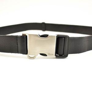 "PRADA Black Leather & Logo Belt- fits up to 39"" mv"